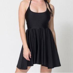 American Apparel Black Nylon Halter Skater Dress